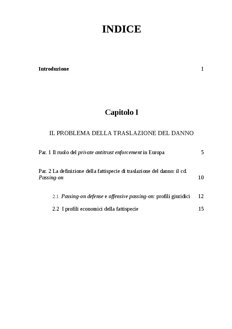 Indice della tesi: Sulla violazione delle norme antitrust nella U.E.: azioni risarcitorie e traslazione del danno., Pagina 1