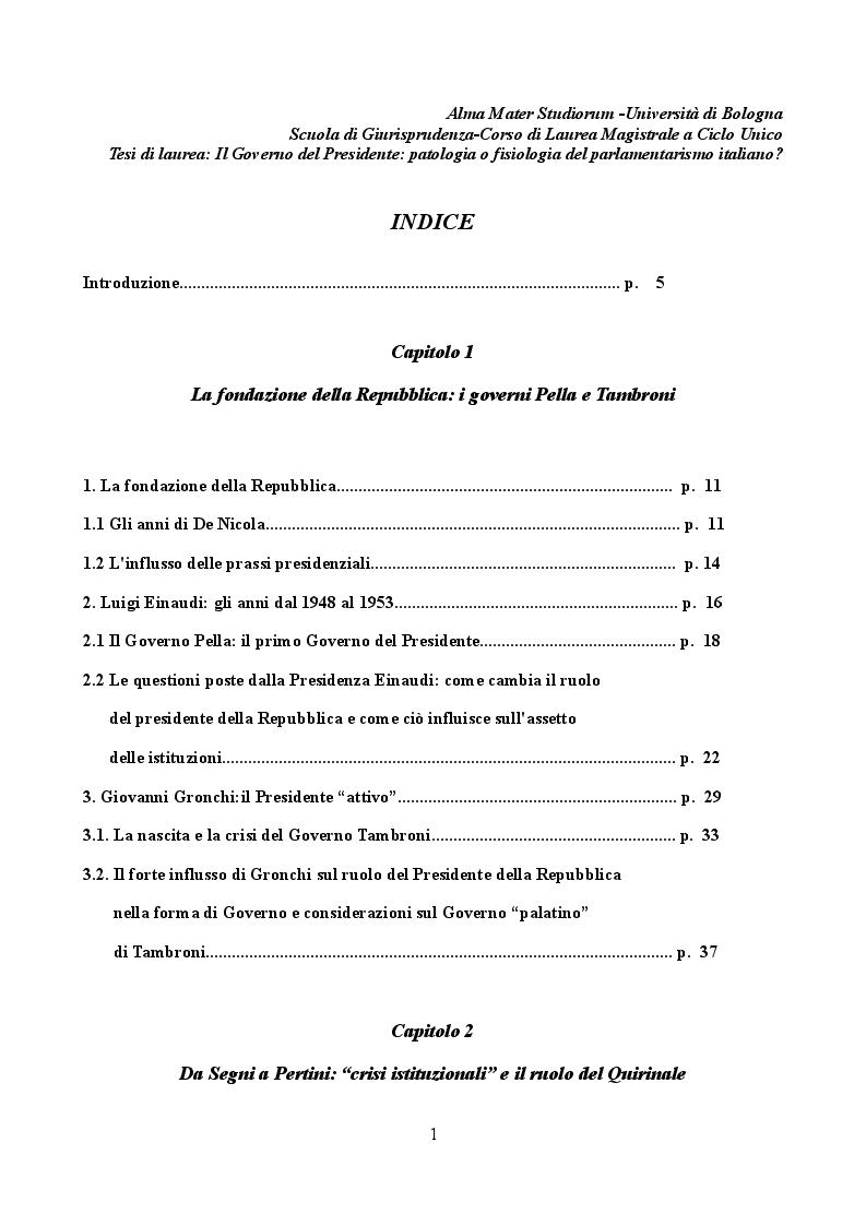 """Indice della tesi: Il """"Governo del Presidente"""": patologia o fisiologia del parlamentarismo italiano?, Pagina 1"""