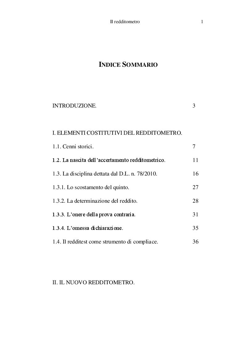 Indice della tesi: Il redditometro, Pagina 1