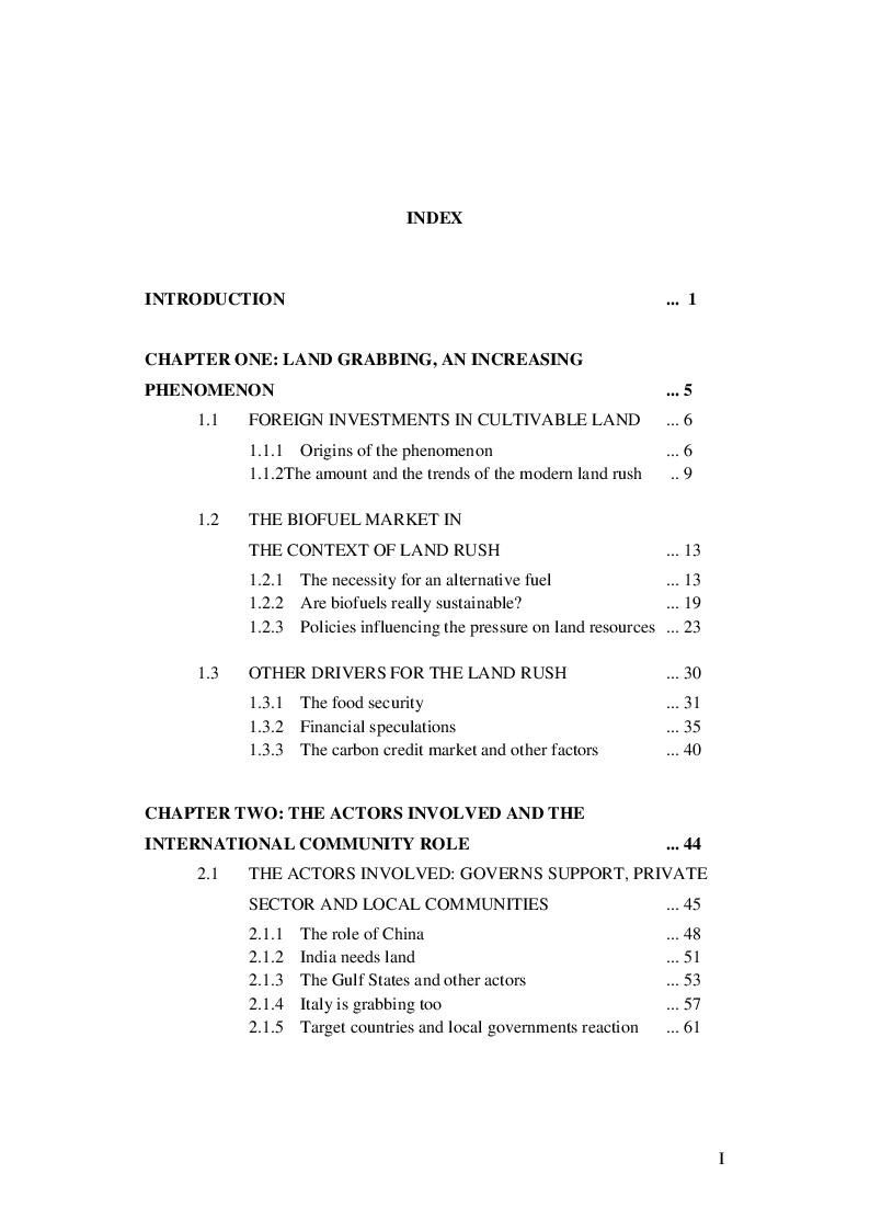 Indice della tesi: The International Land Market: Development Opportunity or Neo-Colonialism?, Pagina 1