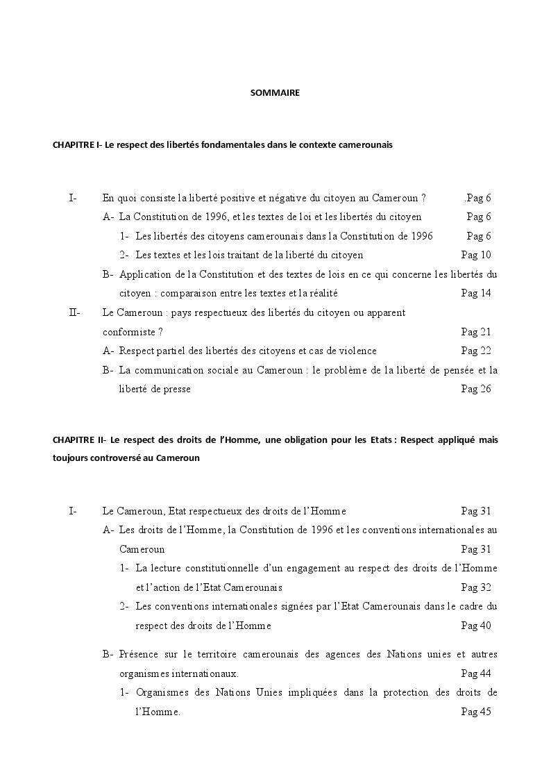 Indice della tesi: Libertés, Droits de l'Homme et Democratie au Cameroun, Pagina 1