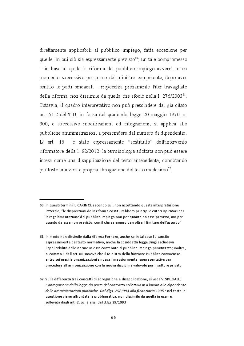 Estratto dalla tesi: Il licenziamento per giustificato motivo oggettivo nel pubblico impiego privatizzato