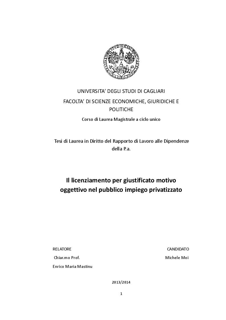Anteprima della tesi: Il licenziamento per giustificato motivo oggettivo nel pubblico impiego privatizzato, Pagina 1