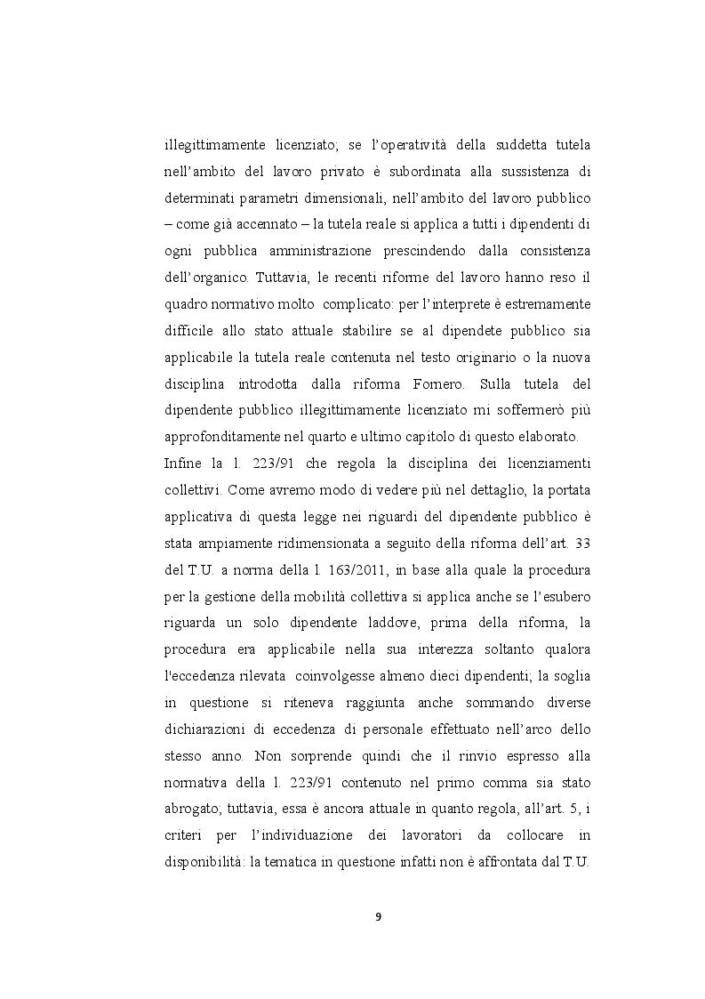 Anteprima della tesi: Il licenziamento per giustificato motivo oggettivo nel pubblico impiego privatizzato, Pagina 4