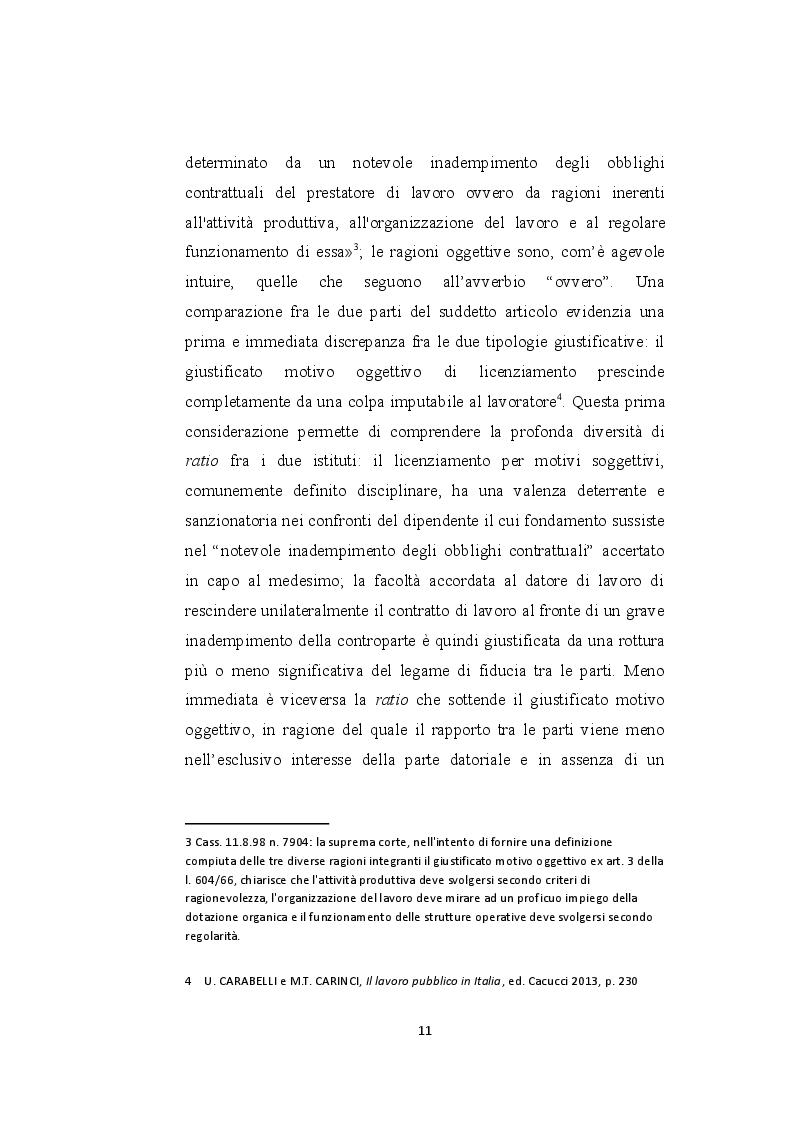Anteprima della tesi: Il licenziamento per giustificato motivo oggettivo nel pubblico impiego privatizzato, Pagina 6