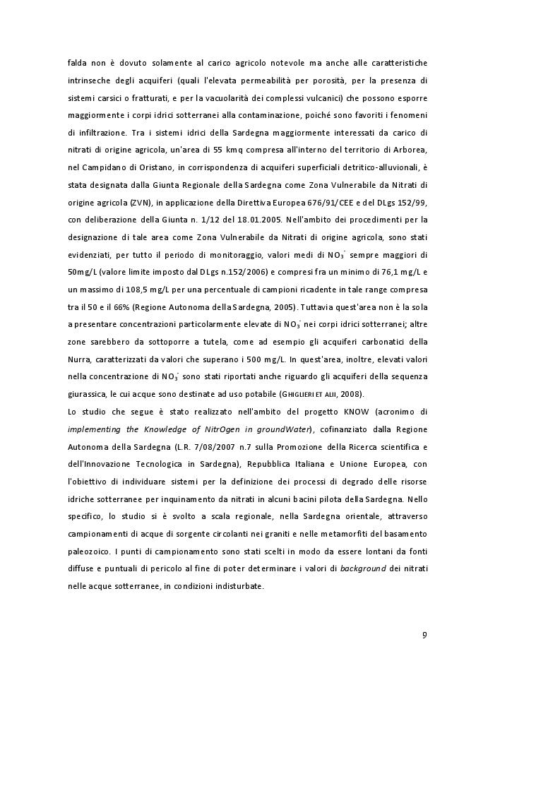 Estratto dalla tesi: Distribuzione delle specie azotate nelle acque di sorgente del basamento granitico e metamorfico della Sardegna orientale