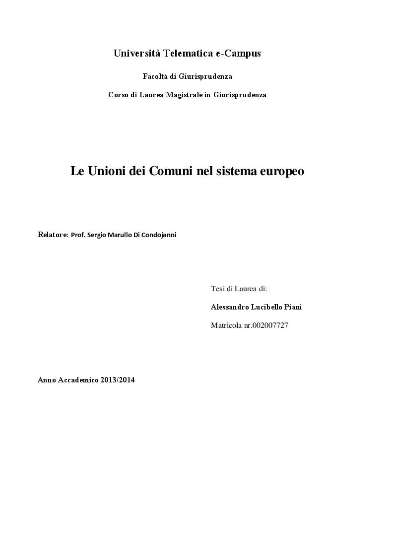 Anteprima della tesi: Le Unioni dei Comuni nel sistema Europeo, Pagina 1