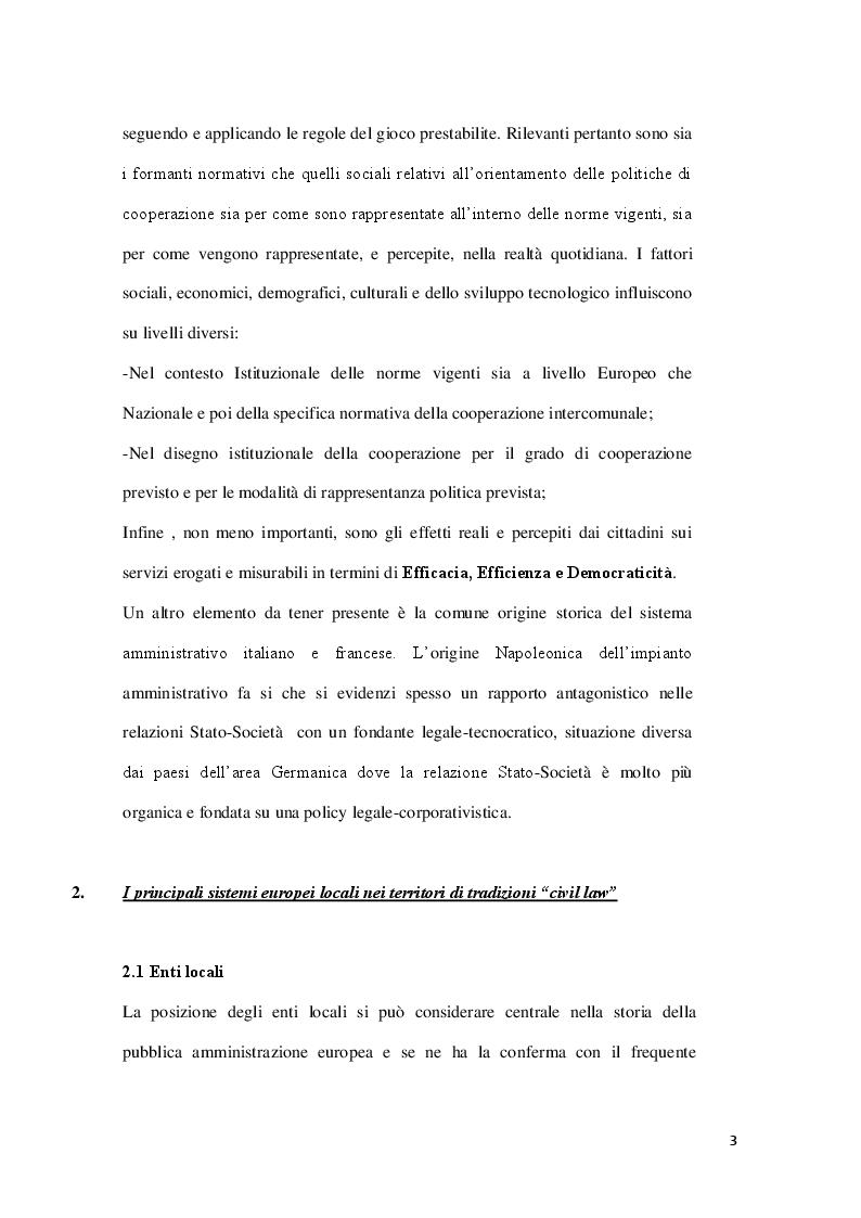 Anteprima della tesi: Le Unioni dei Comuni nel sistema Europeo, Pagina 4