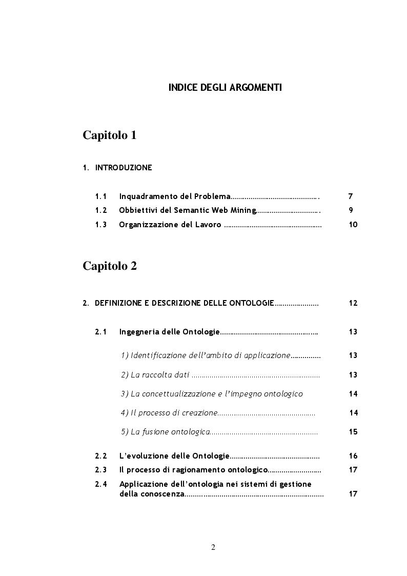 Indice della tesi: Metodi e Tecniche per il Semantic Web Mining, Pagina 1