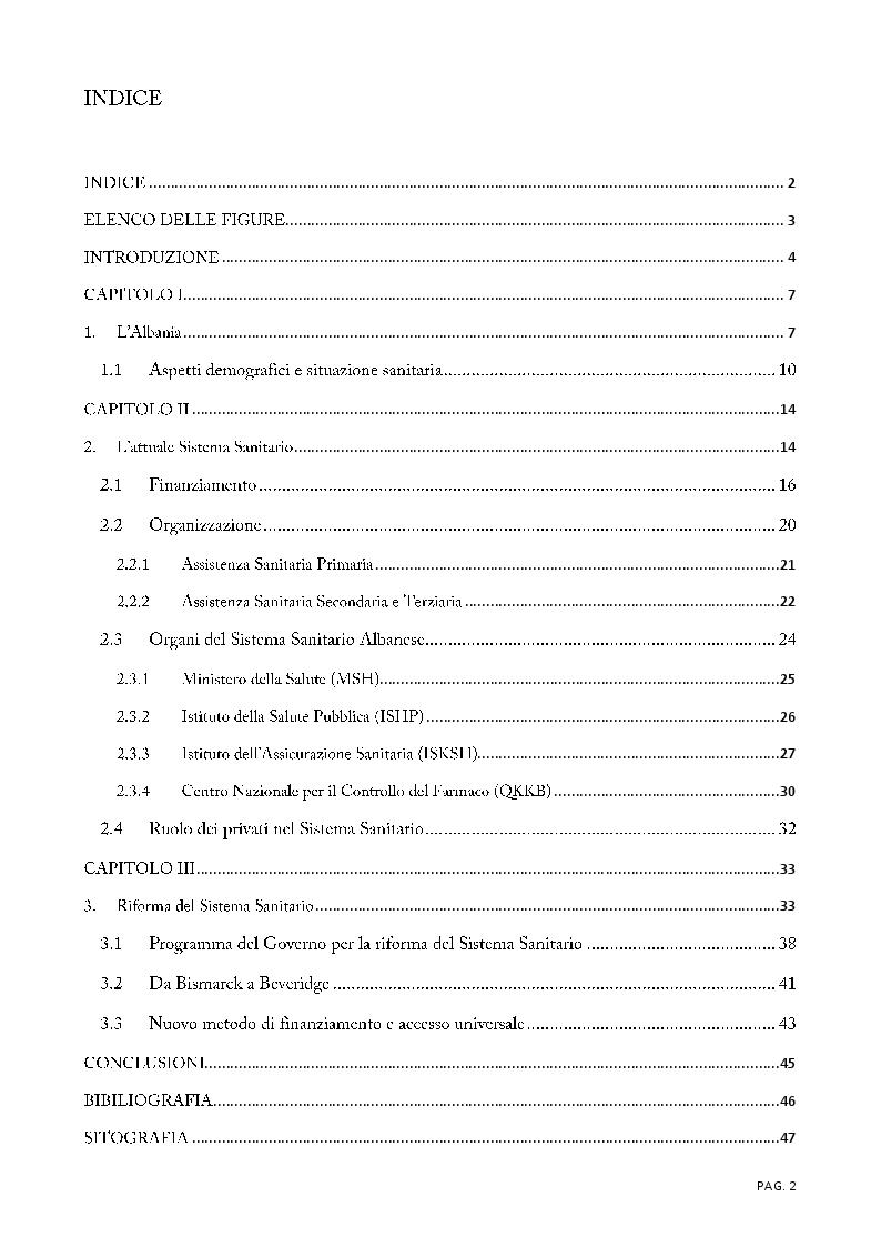 Indice della tesi: Il sistema sanitario albanese oggi e domani, Pagina 1