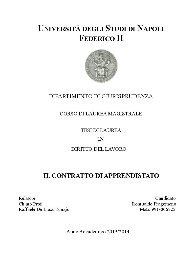 Anteprima della tesi: Il contratto di apprendistato, Pagina 1