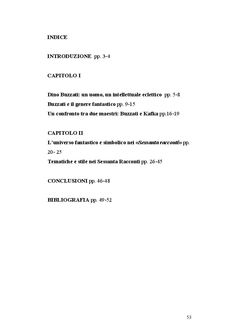 Indice della tesi: I Sessanta racconti di Dino Buzzati, un viaggio tra simbolo e realtà, Pagina 1