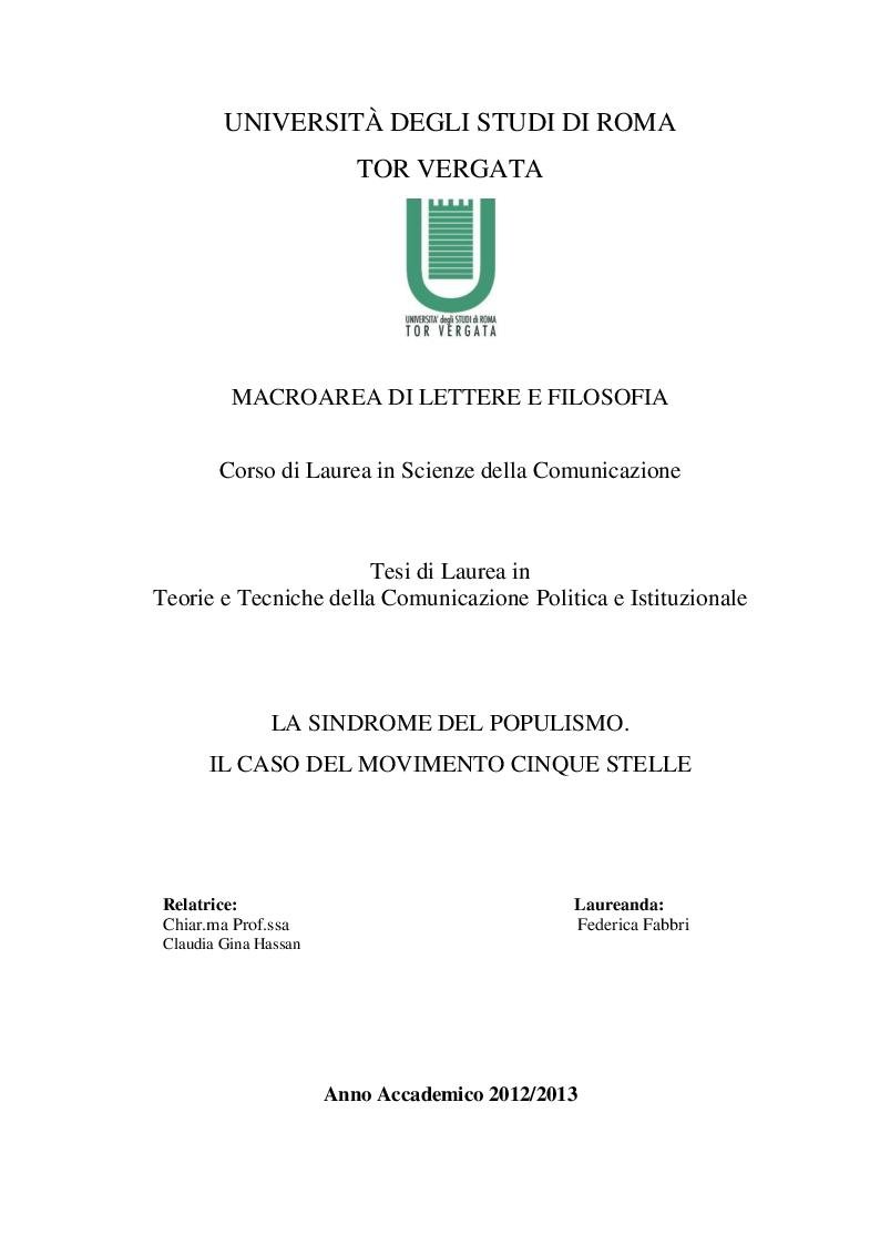 Anteprima della tesi: La sindrome del populismo. Il caso del Movimento Cinque Stelle, Pagina 1