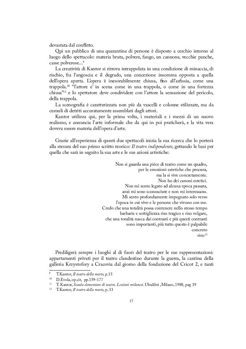Estratto dalla tesi: La ricerca estetica nello spazio di Tadeusz Kantor