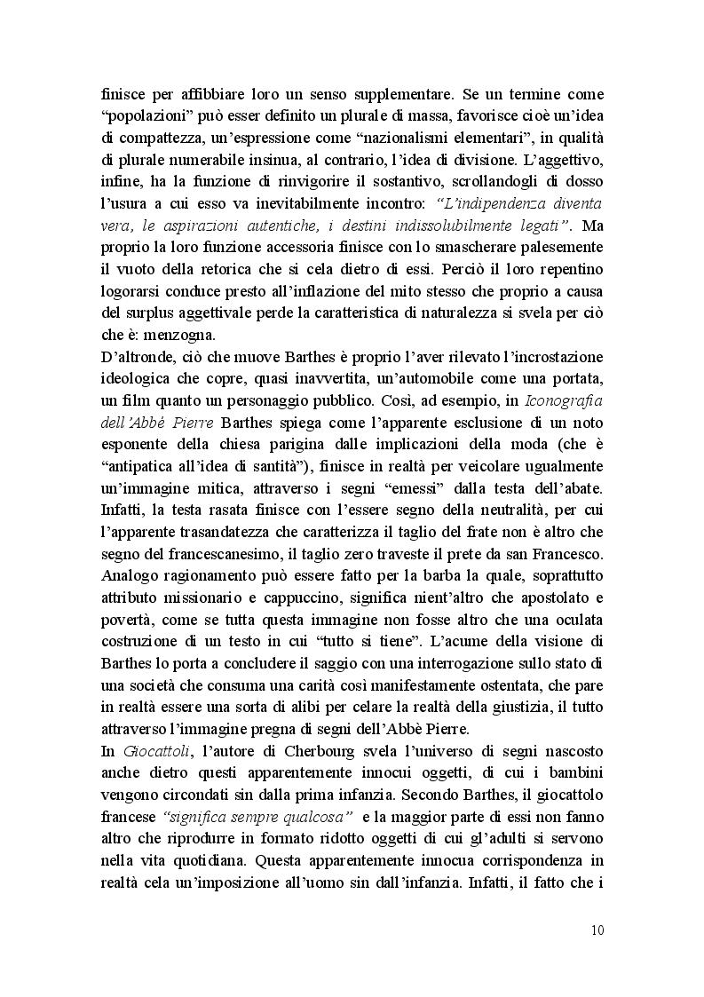 Estratto dalla tesi: Roland Barthes: Miti d'oggi