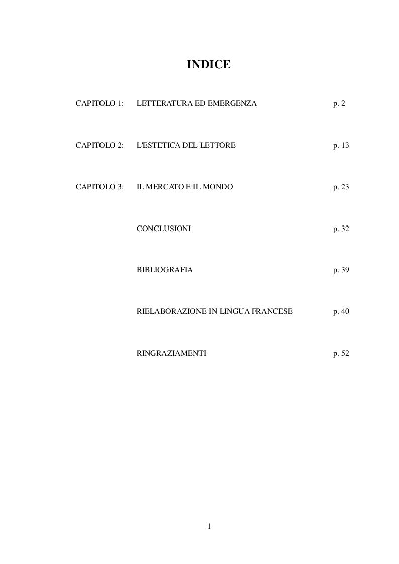 Indice della tesi: Letteratura ai margini. Un sistema in squilibrio, Pagina 1