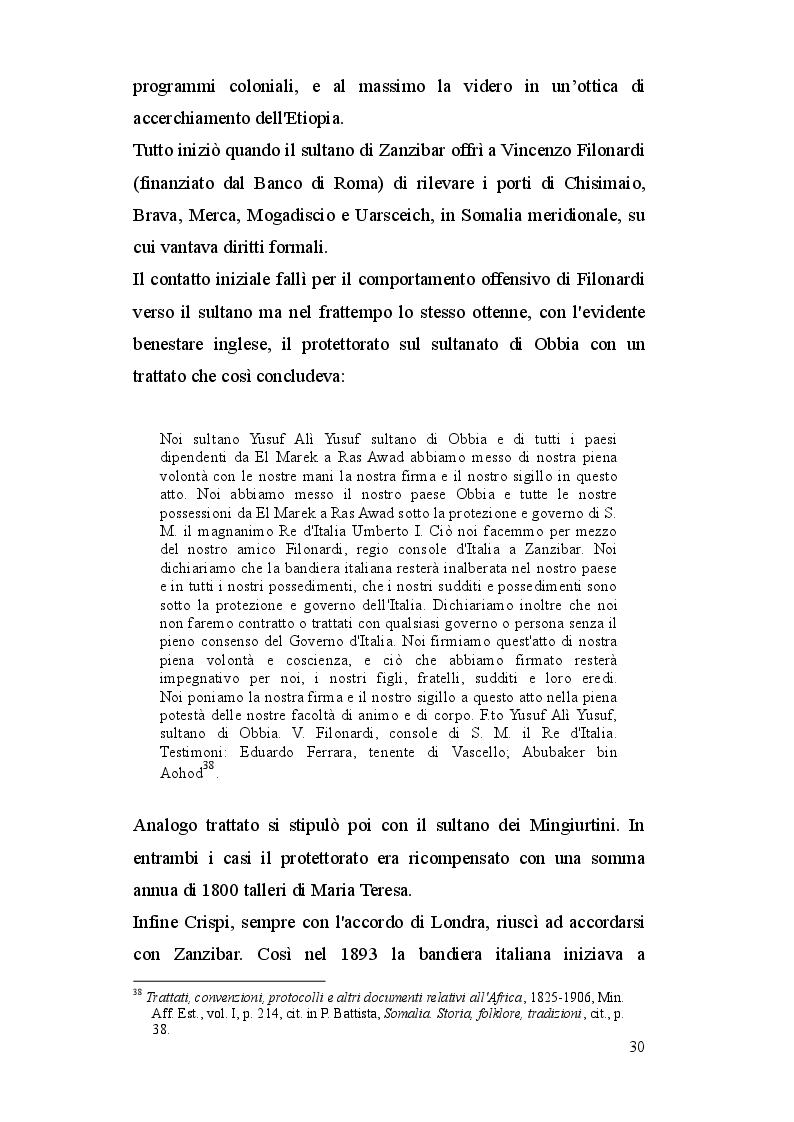 Estratto dalla tesi: La Somalia: da colonia italiana a Stato indipendente (1885-2012)