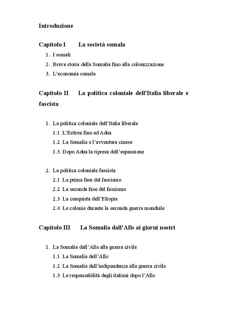 Indice della tesi: La Somalia: da colonia italiana a Stato indipendente (1885-2012), Pagina 1
