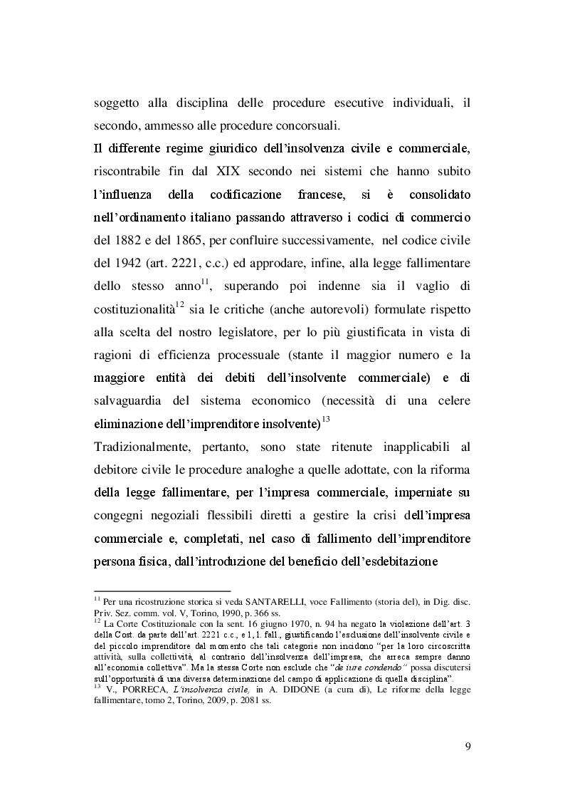 Estratto dalla tesi: La disciplina dell'insolvenza civile: profili di diritto interno e comparato.