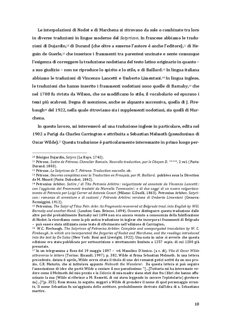 Estratto dalla tesi: La traduzione del Satyricon attribuita ad Oscar Wilde