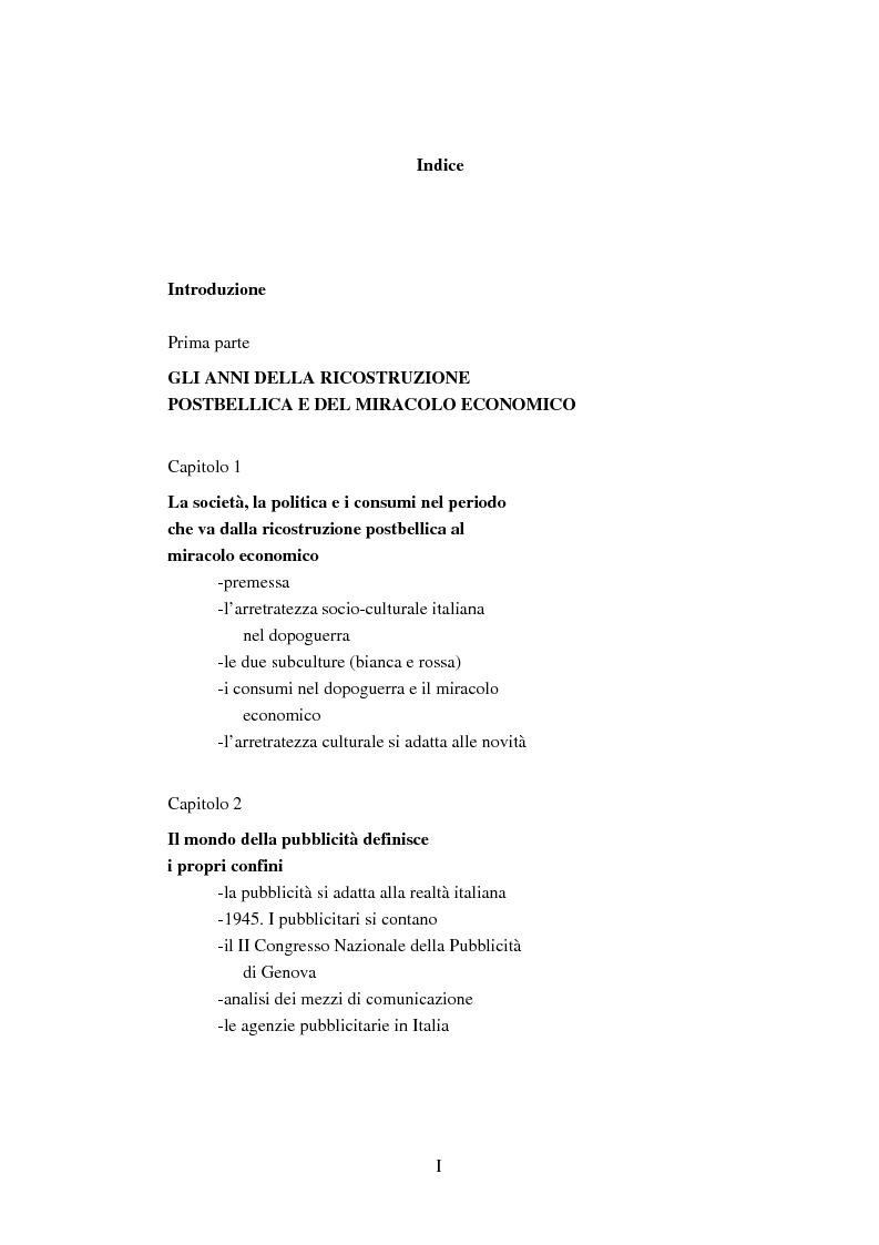 Indice della tesi: Società, cultura e pubblicità in Italia dal secondo dopoguerra ad oggi, Pagina 1