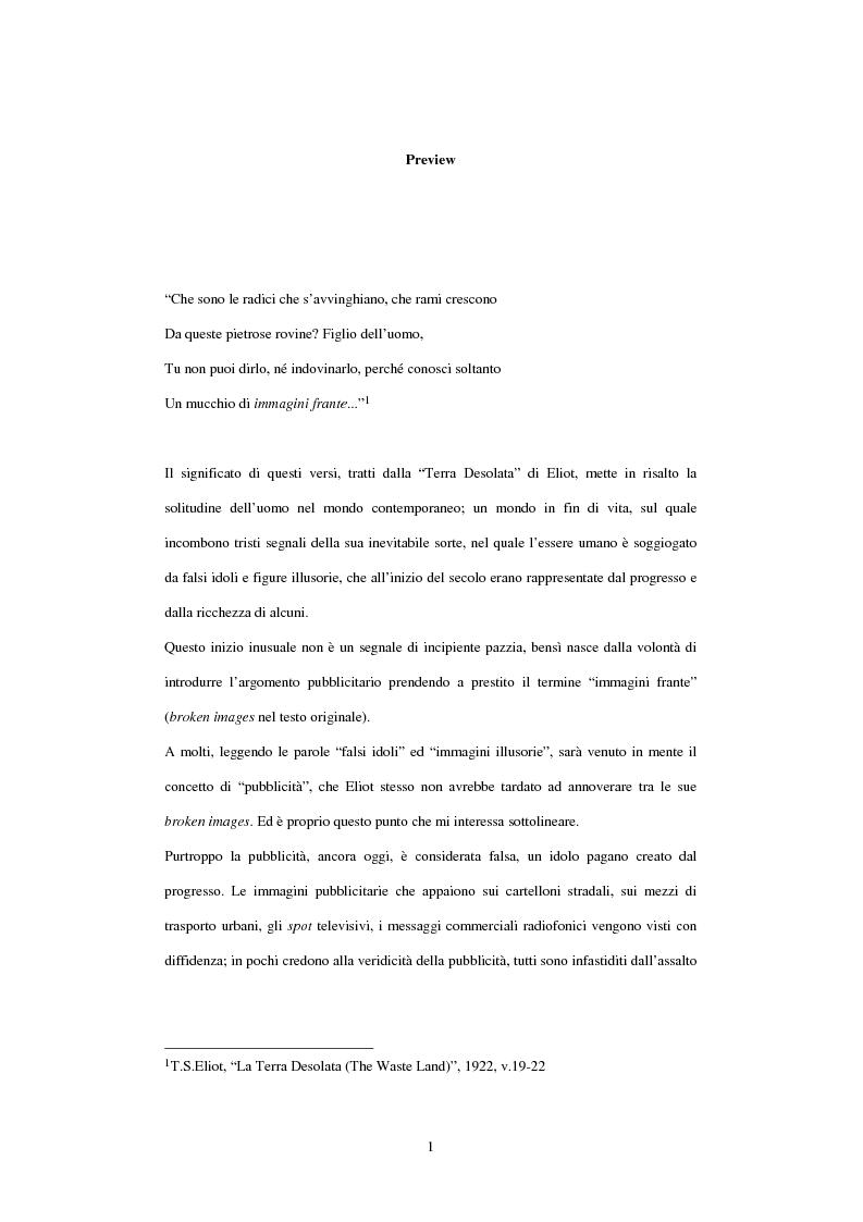Anteprima della tesi: Società, cultura e pubblicità in Italia dal secondo dopoguerra ad oggi, Pagina 1