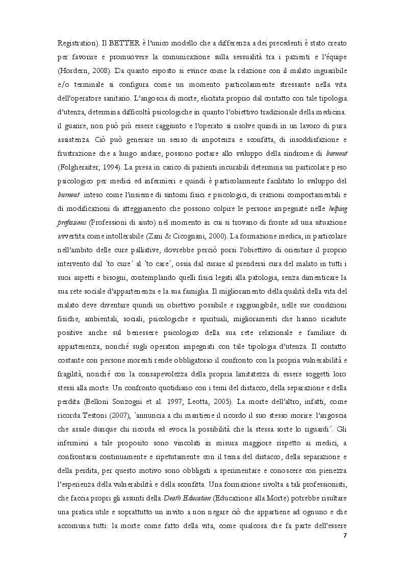 Estratto dalla tesi: Realtà quantitativa e qualitativa degli hospice in Italia studio osservazionale