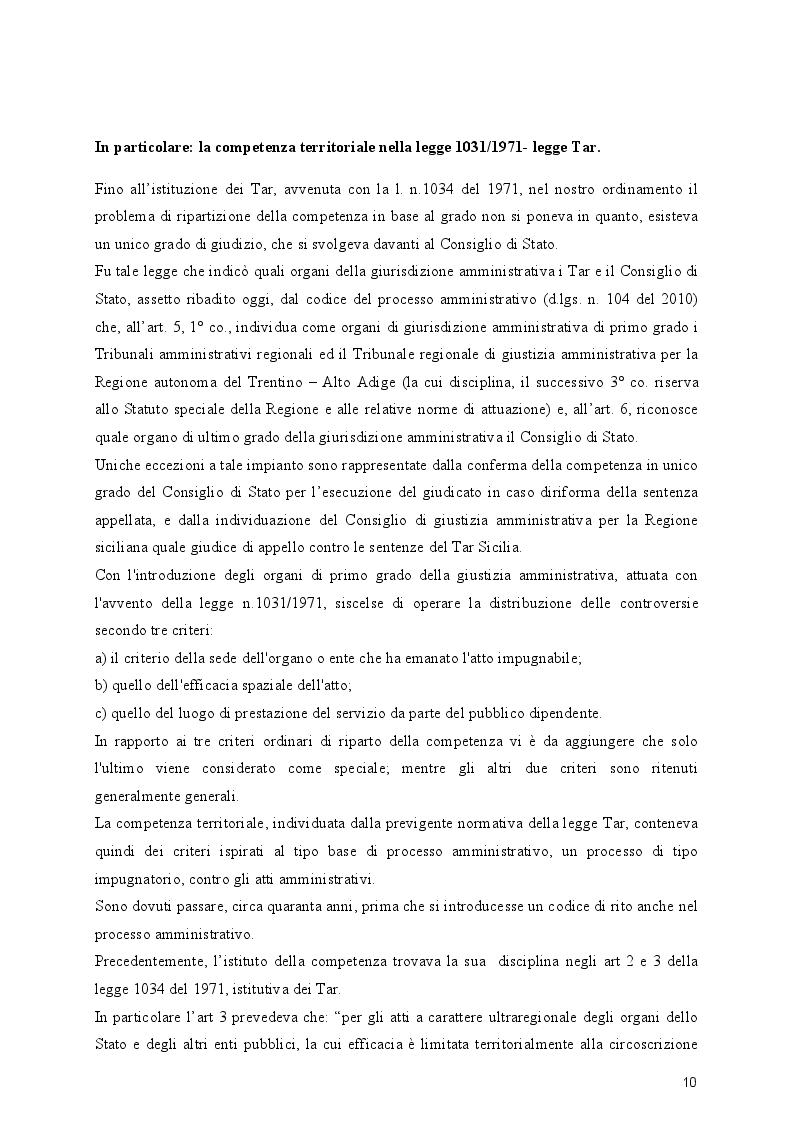 Estratto dalla tesi: La competenza territoriale come regolata dal nuovo codice del processo amministrativo: criterio ordinario ed eventuali deroghe