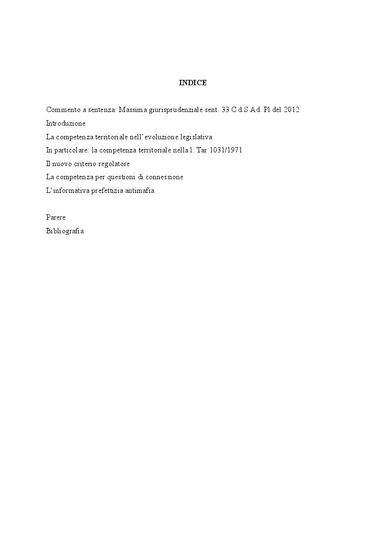 Indice della tesi: La competenza territoriale come regolata dal nuovo codice del processo amministrativo: criterio ordinario ed eventuali deroghe, Pagina 1