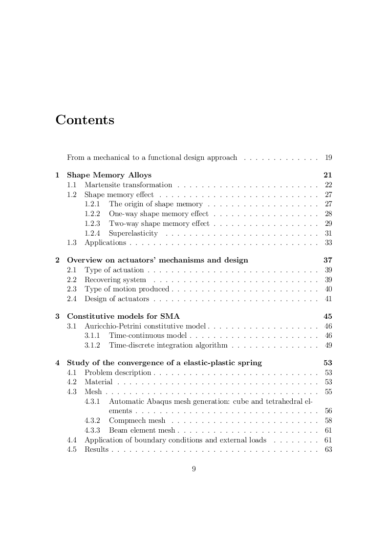 Indice della tesi: Design and rapid prototyping of a SMA based actuator, Pagina 1