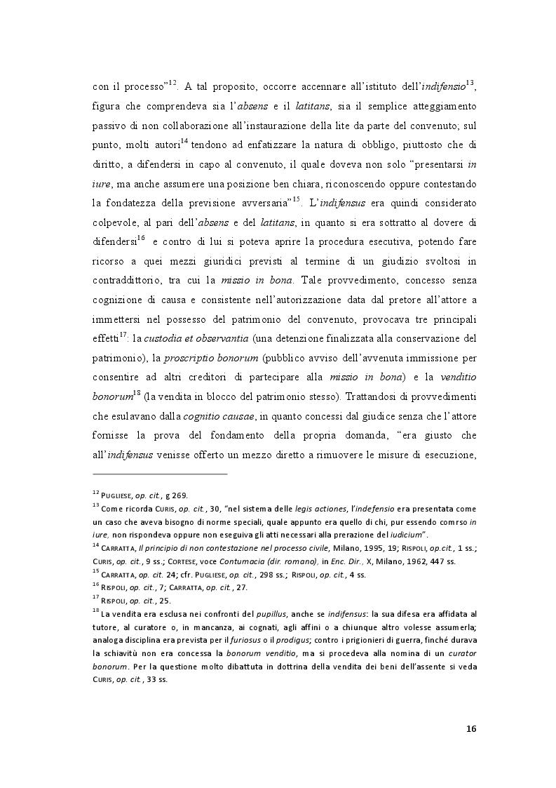 Estratto dalla tesi: Il doppio volto della contumacia nel processo civile (ficta contestatio e ficta confessio)