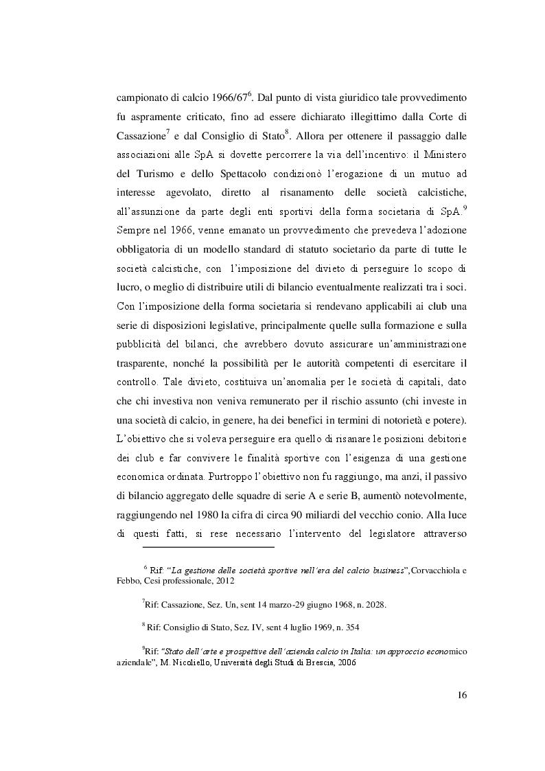 Estratto dalla tesi: Il Fair Play Finanziario nella gestione delle società di calcio