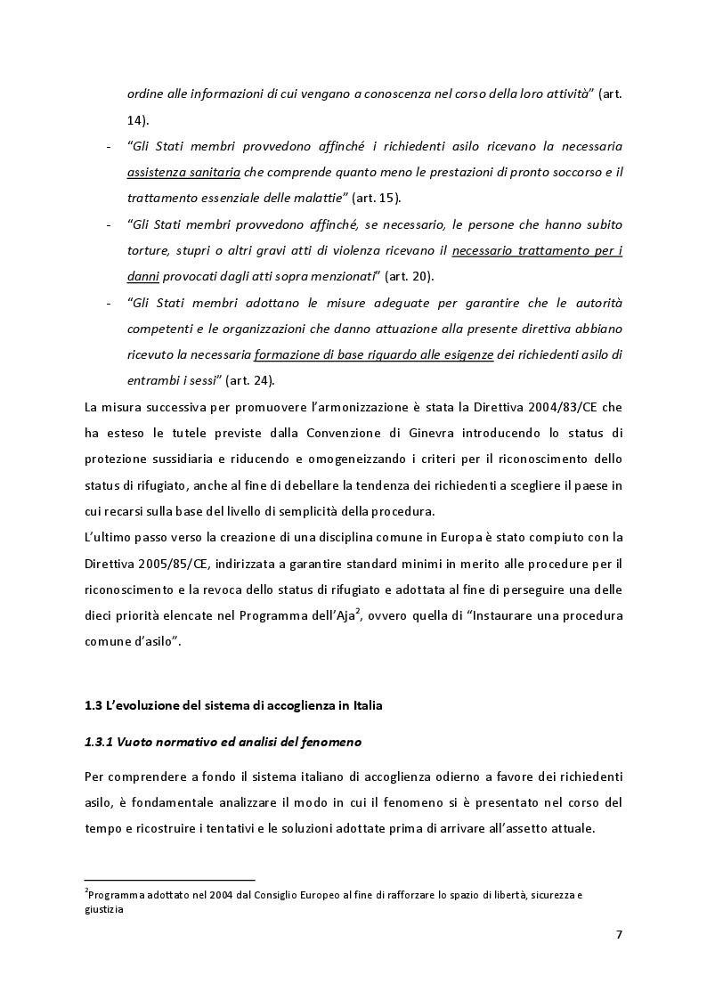Estratto dalla tesi: L'accoglienza dei richiedenti asilo in Italia, tra norme e prassi
