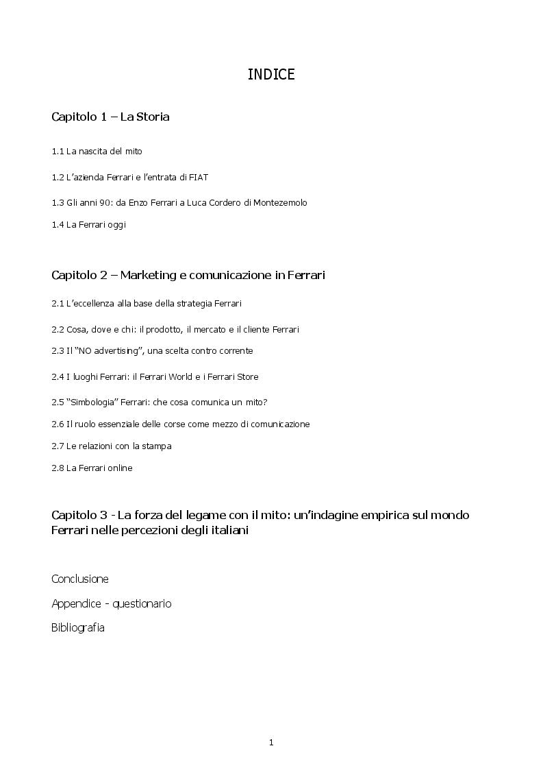 Indice della tesi: Come si costruisce un mito. Marketing e comunicazione in Ferrari, Pagina 1