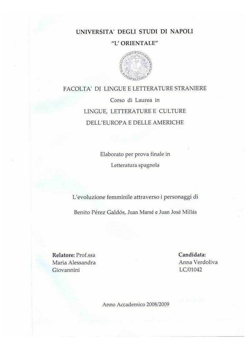 Anteprima della tesi: L'evoluzione femminile attraverso i personaggi di Benito Pérez Galdos, Juan Marsè e Juan José Millas, Pagina 1