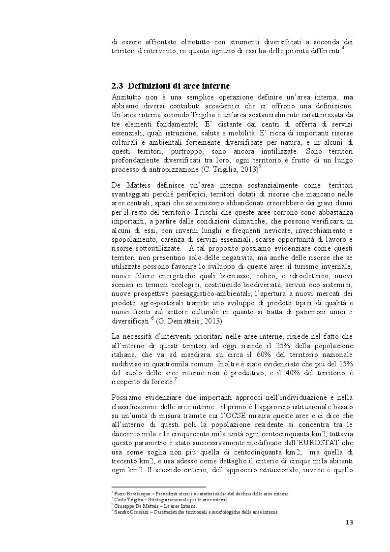 Estratto dalla tesi: Aree interne & caso Sulcis