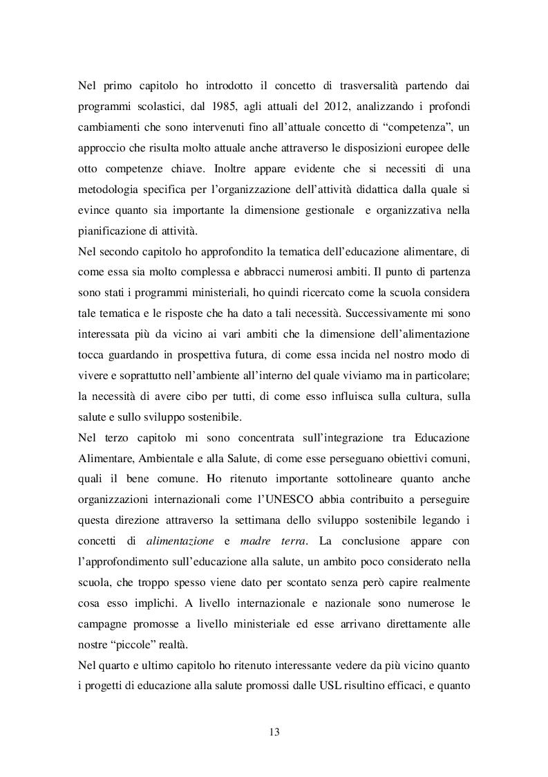 Estratto dalla tesi: Educazione Ambientale, alla Salute e Alimentare: un'integrazione possibile