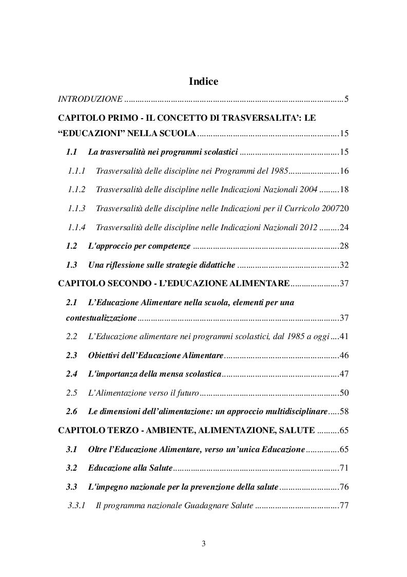 Indice della tesi: Educazione Ambientale, alla Salute e Alimentare: un'integrazione possibile, Pagina 1
