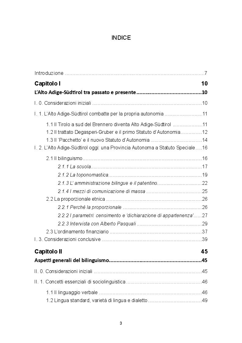 Indice della tesi: L'essenza dell'integrazione in Alto Adige-Südtirol. Un'indagine tra le famiglie mistilingui di Appiano., Pagina 1