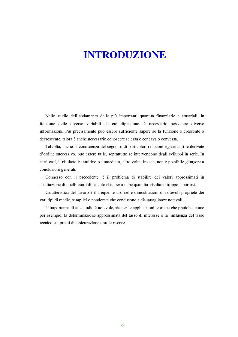 Anteprima della tesi: Applicazione di alcune disuguaglianze all'andamento di funzioni finanziarie e attuariali, Pagina 1