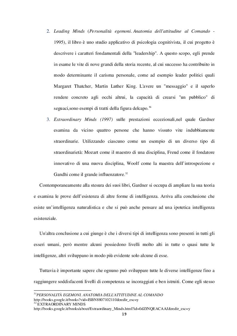Estratto dalla tesi: La teoria delle intelligenze multiple. Aspetti concettuali e riscontri nella pratica scolastica