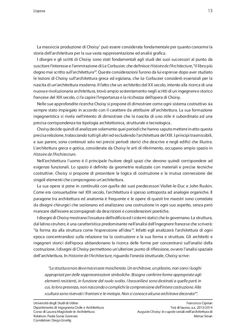 Estratto dalla tesi: Auguste Choisy: le cupole seriali nell'architettura di Mimar Sinan