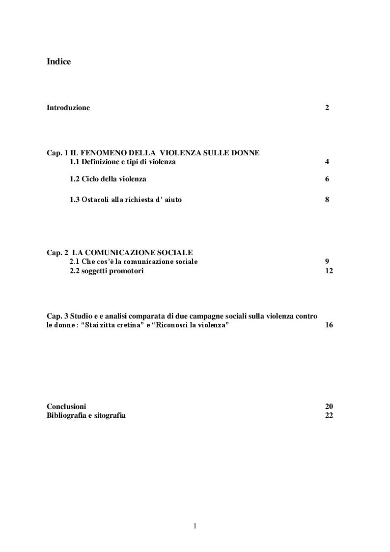 Indice della tesi: La comunicazione sociale e la violenza sulle donne: due campagne a confronto, Pagina 1