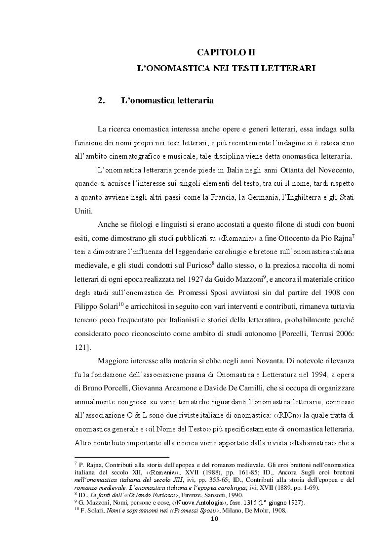 Estratto dalla tesi: L'onomastica nelle opere di Giuseppe Tomasi di Lampedusa