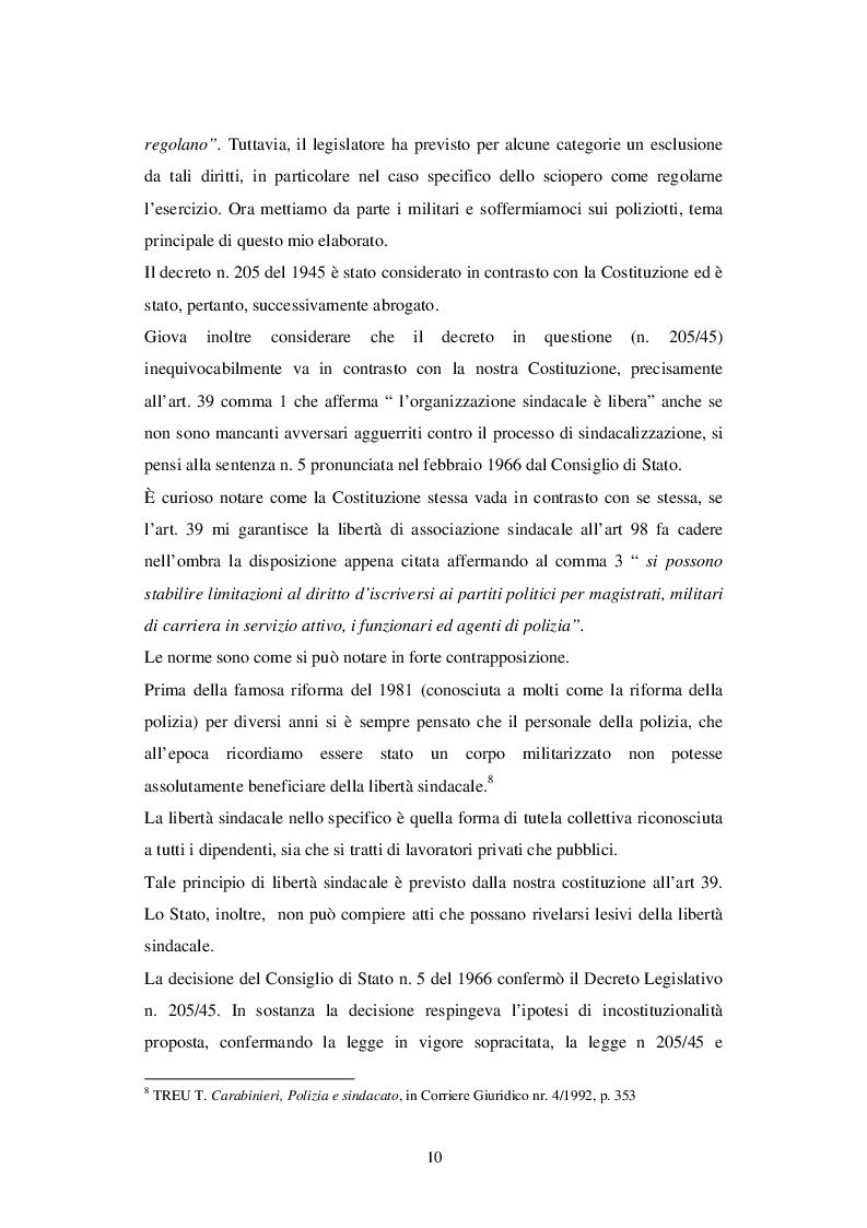 Estratto dalla tesi: Il sindacato nella Polizia di Stato: dal riconoscimento legislativo alle più recenti riforme
