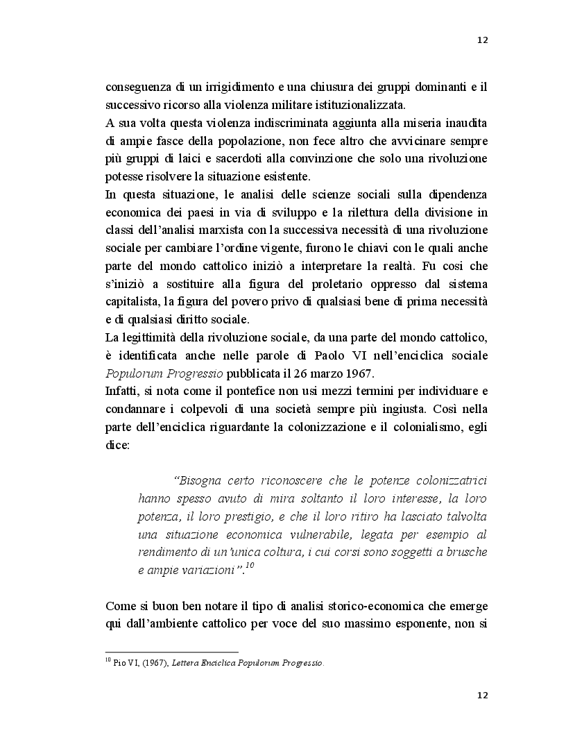 Estratto dalla tesi: La Teologia della Liberazione in America Latina: dalla parola di Dio alla rivoluzione dei cristiani.