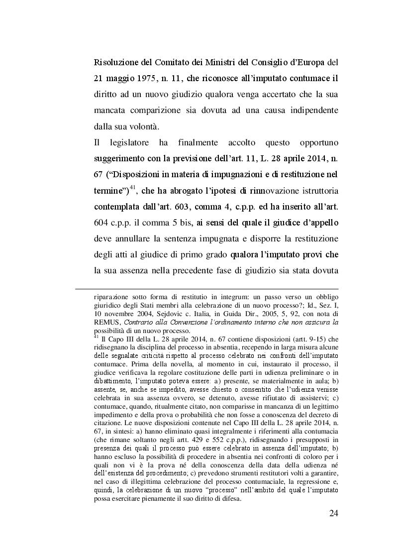 Estratto dalla tesi: La rinnovazione dell'istruttoria dibattimentale nel giudizio di appello