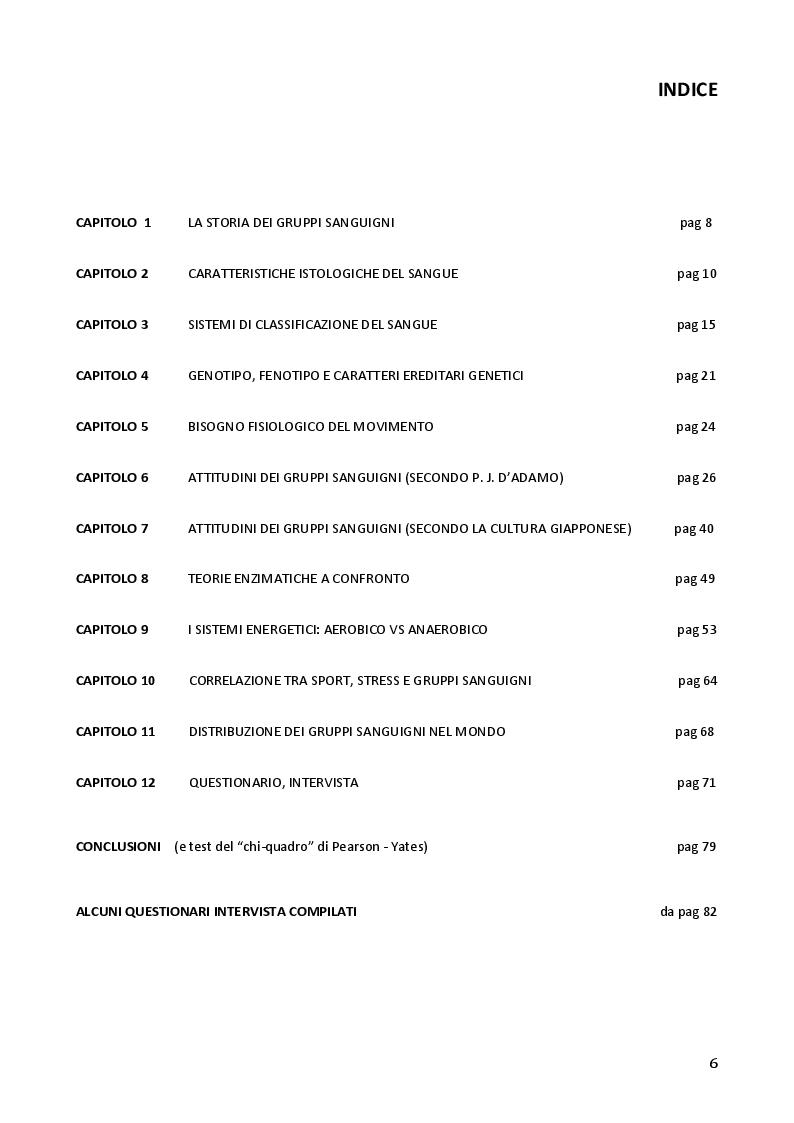 Indice della tesi: Emogruppo e Sport, Pagina 1