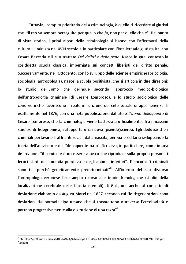 Estratto dalla tesi: Devianza e Società: dalla criminologia alla sociologia