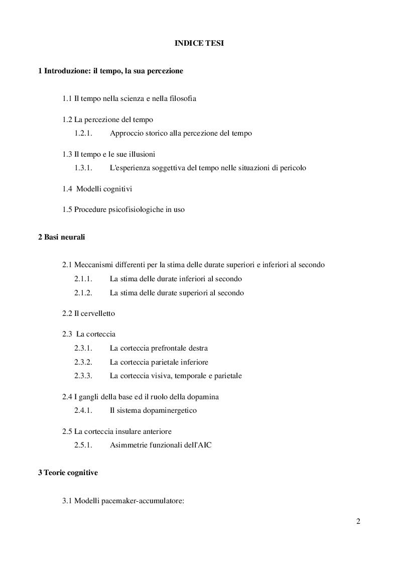 Indice della tesi: La percezione del tempo: basi neurali e teorie cognitive, Pagina 1